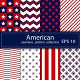 reeks Naadloos patroon acht in nationale Amerikaanse kleuren vector illustratie