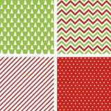 Reeks naadloze abstracte patronen De achtergronden van Kerstmis Royalty-vrije Stock Afbeelding