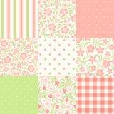 Reeks naadloze bloemen en geometrische patronen Vector illustratie Royalty-vrije Stock Fotografie