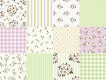 Reeks naadloze bloemen en geometrische patronen voor het scrapbooking Vector illustratie Royalty-vrije Stock Afbeelding