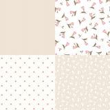 Reeks naadloze bloemen en geometrische roze en beige patronen Vector illustratie Stock Fotografie