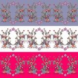 Reeks naadloze bloemengrenzen Decoratief ornament Stock Foto's
