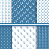 Reeks naadloze bloemenpatronen in blauwe kleuren Royalty-vrije Stock Afbeelding