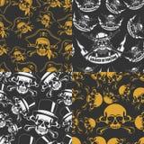 Reeks Naadloze emblemen als achtergrond van schedels Royalty-vrije Stock Fotografie
