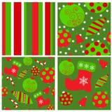 Reeks naadloze Kerstmispatronen Stock Afbeeldingen
