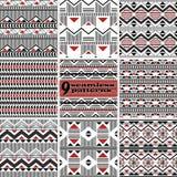 Reeks naadloze moderne geometrische patronen van lijnen, zigzag, tri royalty-vrije illustratie