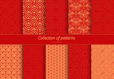 Reeks naadloze ornamenten In het oosten gestileerd patroon Stock Foto