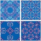 Reeks naadloze patronen - blauwe en witte keramische tegels Royalty-vrije Stock Foto