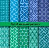 Reeks naadloze patronen Gebruikt voor behang, druk, patroon, stof, Het herhaalde werk, het tegelwerk, reclame, Webontwerp Stock Foto