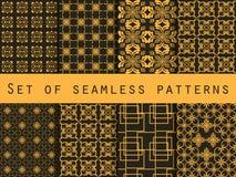 Reeks naadloze patronen Geometrische patronen Zwarte en gele kleur Voor behang, bedlinnen, tegels, stoffen, achtergronden stock illustratie