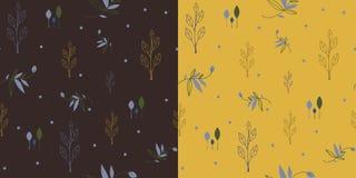Reeks Naadloze patronen met bladeren en bloemen Stock Foto's