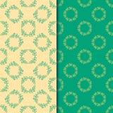 Reeks naadloze patronen met cirkel bloemendruk twee stock illustratie