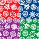 Reeks naadloze patronen met Decoratieve document sneeuwvlokken Royalty-vrije Stock Foto's