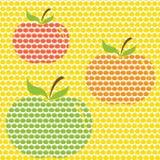 Reeks naadloze patronen met een appelornament. Stock Foto's