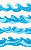 Reeks naadloze patronen met gestileerde golven Royalty-vrije Stock Foto's