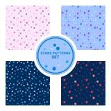 Reeks naadloze patronen met gevulde en lege sterren Vector illustratie Achtergrond voor kleding, productie, behang, drukken Stock Afbeelding
