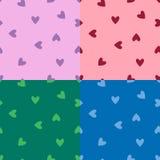 Reeks naadloze patronen met harten Royalty-vrije Stock Afbeeldingen