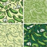 Reeks naadloze patronen met heerlijke groenten. Royalty-vrije Stock Afbeeldingen