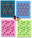 Reeks naadloze patronen met kleurrijke medische elementen - flesje, fles, tablet, capsule Flessen en pillen Geneeskunde en gezond stock illustratie