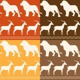 Reeks naadloze patronen met leeuw en gazelle Royalty-vrije Stock Afbeelding