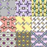 Reeks naadloze patronen met ornamenten Stock Fotografie