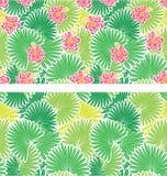 Reeks naadloze patronen met palmenbladeren Stock Fotografie
