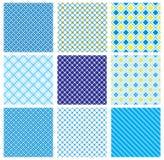 Reeks naadloze patronen met stof gecontroleerde textu Stock Afbeeldingen
