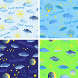 Reeks naadloze patronen op het thema van weer met regen, zon Stock Fotografie
