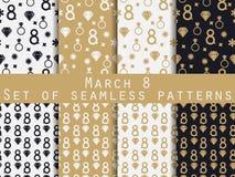 Reeks naadloze patronen op 8 Maart De dag van internationale vrouwen stock illustratie