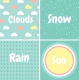 Reeks naadloze patronen Sneeuw, regen, wolken, zon vector illustratie
