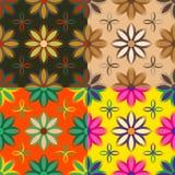 Reeks naadloze patronen van bloemen Stock Foto