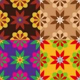 Reeks naadloze patronen van bloemen Stock Afbeeldingen