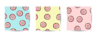 Reeks naadloze patronen van doughnutkrabbels Roze donuts met bovenste laagje op pastelkleurachtergrond Leuk beeldverhaalmalplaatj stock illustratie