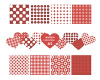 Reeks naadloze patronen voor valentijnskaart` s dag Stock Afbeeldingen