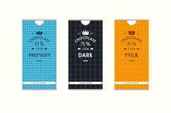 Reeks naadloze patroon en etiketten voor chocolade verpakking royalty-vrije illustratie