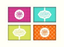 Reeks naadloze patroon en etiketten voor met de hand gemaakte zeep verpakking stock illustratie