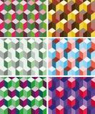Reeks naadloze prismatische patronen vector illustratie