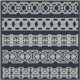 Reeks naadloze uitstekende grenzen in de vorm van Keltisch ornament Stock Fotografie