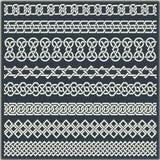 Reeks naadloze uitstekende grenzen in de vorm van Keltisch ornament Royalty-vrije Stock Afbeelding