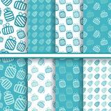 Reeks naadloze vector blauwe patronen met giften Royalty-vrije Stock Fotografie