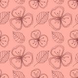 Reeks naadloze vector bloemenpatronen Hand getrokken achtergrond met bloemen, bladeren, decoratieve elementen Grafische illustrat Royalty-vrije Stock Foto
