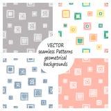 Reeks naadloze vector geometrische patronen met geometrische cijfers, vormen pastelkleur eindeloze achtergrond met hand getrokken vector illustratie
