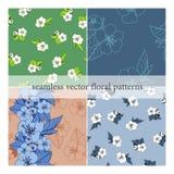 Reeks naadloze vectorpatronen met bloemen vector illustratie