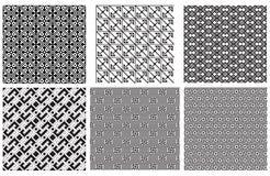 Reeks naadloze zwarte geometrische patronen Royalty-vrije Stock Foto's
