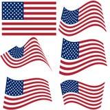 Reeks nationale vlaggen van de Verenigde Staten van Amerika die op witte achtergrond worden geïsoleerd Officieel kleuren en aande Royalty-vrije Stock Foto's