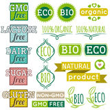 Reeks natuurlijke biologisch productetiketten en emblemen Royalty-vrije Stock Fotografie