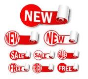 Reeks nieuwe etiketten Royalty-vrije Stock Foto's