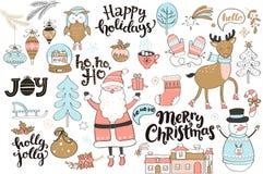 Reeks nieuwe jaar en Kerstmiselementen Stock Afbeeldingen