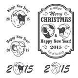 Reeks nieuwe jaar en Kerstmisemblemen stock illustratie