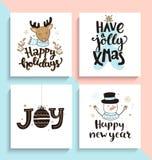 Reeks nieuwe jaar en Kerstmiskaarten Stock Afbeeldingen